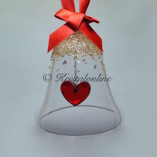 Swarovski Crystal | Silver Crystal | Christmas | Christmas Bell Ornament - Heart - GS | 5464881