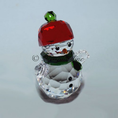 Swarovski Silver Crystal Christmas Snowman With Red Hat 5288205